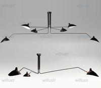 al por mayor diseño de giro de-Serge Mouille Pole Lámpara Pendiente Sabre Rattling Swing Lámpara de techo de Duckbill Metal Comedor Lámpara de techo de diseño mecánico de iluminación 3 cabezas