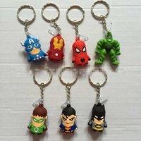 Cheap many style choose top PVC Iron Man superman batman spideman key ring gift 2015 mini dolls 3cm set key chain hot sale 100pcs