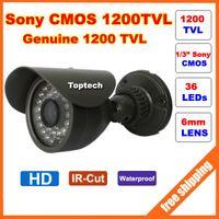 Cheap HD Original Sony CMOS 1200TVL IR 36 pcs Leds 30M night vision waterproof Security Bullet CCTV Camera with bracket Free shipping