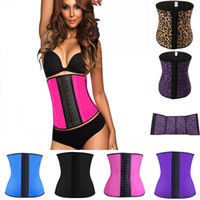 Wholesale Hot Sale Women Latex Rubber Waist Trainer Cheap Cincher Underbust Corset Body Shaper Shapewear Plus Size Purple Black Leopard grain
