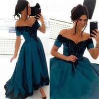 balck white - 2016 Sexy V Neck Off the Shoulder Dark Green Satin Balck Lace Applique Ball Gown Formal Dresses Evening Short Sleeves E0116