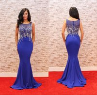 Wholesale Royal Blue Sexy Plus Size Prom Dresses Sleeves Heavy Beading Satin Mermaid Red Carpet Evening Dresses