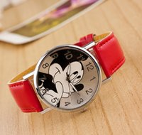 Wholesale 2015 hot selling new casual leather belt watchWholesale cartoon children watch students watch Mickey Mouse cartoon Mickey children