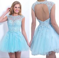 beading daily - Fall Cheap Sheer Short Homecoming Dresses A Line Cap Sleeve Beaded Crystals Tulle Mini Cocktail Party Dressed Girls Casual Daily CPS215