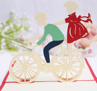bicycle greeting cards - 10pcs Lovers Bicycle Handmade Kirigami Origami D Pop UP Greeting Cards Invitation Postcard For Birthday Wedding Party Gift