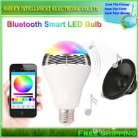 Wholesale New arrivals Smart led Bulb Lamp with Bluetooth Speaker E27 Base Wireless Music Player Sound Box Lighting Blubs W phone contorl LED bulb