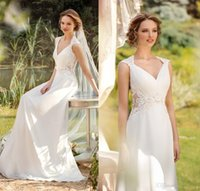 mio - V Neck Pleats Chiffon A Line Beach Wedding Dresses Cap Sleeves Lace Appliques Sheer Side Bridal Gowns Elegant Sole Mio Ivory Summer Wear