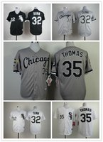 baseball jerseys - men Baseball Jerseys Chicago White Sox THOMAS black white stripe stitched baseball jersey