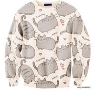 Wholesale New Fashion Men women cartoon pusheen cat sweatshirt printed moleton Long sleeve d animal hoodies sweatshirts women hoody