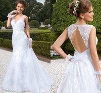 Wholesale Vestidos Sexy V Neck A Line Wedding Dresses Backless Beach Bridal Gowns VIASPOSA Vintage Wedding Gown Detachable Train Brazil