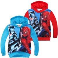 Wholesale Fashion Batman Spider man Kids Boys Long Sleeve Sweatshirt Hoodies Tops For Y
