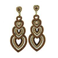 Wholesale Long Fashion Statement Crystal Chandelier Earring Retro Luxury Bohemian Beaded Dangle Women Fashion Earring