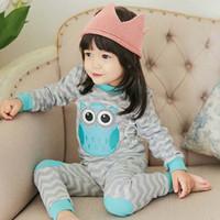 pajamas for children - Owl Chevron Pajamas For Kids Boys Girls Kids Underwear Children Clothes Baby Pajamas Child Clothing Winter Childrens Sleepwear C18115