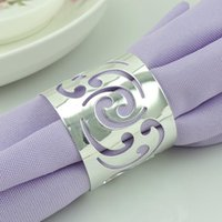 Wedding Napkin Rings - 500pcs Cutout Metal Napkin Rings Hotel Wedding Supplies Party Table Decoration Accessories Napkin Cloth ring Y253