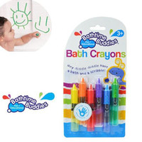 bath pens - Hot Sale Sets Baby Safety Wax Crayon Painting Erasable colors Happy Graffiti Bath Brush Baby Toy Wax Drawing YT078