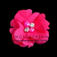 Wholesale quot Colors Mini Satin Flat Back Flowers With Pearls Rhinestones For Children New Hot Soft Chic Chiffon Flower
