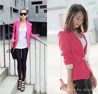 Wholesale Blazer Women Feminino New Candy Color Jackets Suit One Button Slim Yellow Ladies Blazers Work Wear Blaser Feminino K071