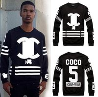 couples sweater - Double C Spring New Men s Clothing Tshirts Letter Coco Stripe Couples Printing Sweaters Tshirt Number Women Male Female Tops M L XL H2667