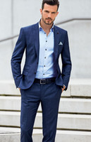 beach wedding dresses for men - The latest version of deep blue custom wedding the groom holds the men on the beach for two buttons dresses coat pants