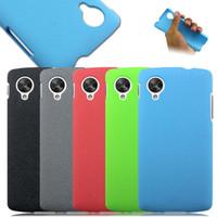 2015 Arenas movedizas arena helada Sandy Shell Anti Finger plástico PC jalea cubierta del caso de color para LG Google Nexus 5 E980