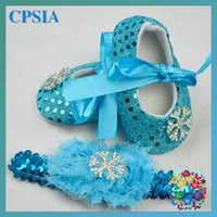 baby girl shoes - 2015 Frozen baby girls Sequins shoes set with hairwear baby shoes toddler shoes infant shoes Baby First Walker Shoes