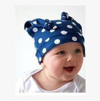 Wholesale Baby Hat Cotton Fabric Cattle Horn Baby Caps Baby Beanie Hats Strip Dot Camouflage