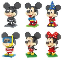Wholesale Mickey and Minnie Mouse Toys Superman Batman Magician Diver Captain America Building Blocks for Children Gift retail box