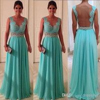Wholesale 2015 Hot Sale Evening Gowns Sweetheart Floor Length Beadings Nude Back Blue Lace Chiffon Formal Prom Dresses WD0224