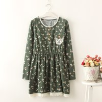 Wholesale Mori Girl floral lace pocket three buckle color long sleeved dress