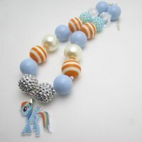 beaded animals kids - 2015 New cute lovely blue little pony girls pendant necklace chunky acrylic bubblegum beaded nice children kids necklaces pendants
