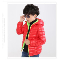 Wholesale 5 Colors Solid Red Boys Down Jackets Fashion Children s Clothing Kid Outerwear Coats Down Parkas Hooded Outfits