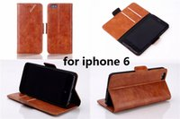 """Cheap Oil Leather Wallet ID Credit Card Kick Stand Flip Hard Plastic Hard Case Phone Cover Accessory for Apple 4.7"""" iphone 6 Free shipping"""