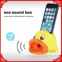 Wholesale Cute Cartoon Design Hands Free Duck Sound Amplifier Stand Speaker Holder for iPhone S S C Cell Phone Holder Loudspeakers