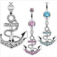 Wholesale The latest style Navel Ring Korean fashion inlay crystal gemstones charm personality anchor shaped navel ring hypoallergenic navel ring