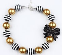 chunky necklace for kids - Fashion new stripe Bows bubblegum necklace toddler jewelry kids necklace Girls Princess Chunky Bubblegum Necklace For Dress up A7046