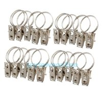 curtain ring clip - 20pcs Stainless Steel Curtain Rod Clips Window Shower Curtain Rings Clamps Drapery Clips Curtain Accessories JT