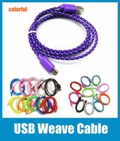 Wholesale Cellphone Woven USB Cable Round Fiber Knit Charger Cord Lead work with V8 micro HTC LC Samsung S3 S4 Colorful DHL CAB007