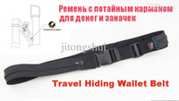 Wholesale Black Color D Fabric Travel Anti Theft Wallet Belt with SECRET COMPARTMENT Hiding Stash money Belt Travel Accessary