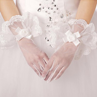 best shooting gloves - Best shot With white lace flower adornment to wrist length by hand the bride gloves