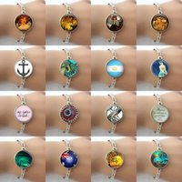 best friendship pictures - Hot men women Fashion jewelry Glass cabochon dome anchor ball art picture Charm bracelets best friendship bracelet and bangle