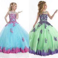 Cheap 2015 Teen Pageant Dresses See Through Ball Gown Floor Length Formal Dresses for Little Girls Appliques Beaded Flower Girls Dresses Zipper
