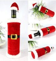 Wholesale set Christmas Santa Clause Clothing Hat Dress Wine Bottle Cover Christmas Gift New Christmas Wine Bottle Cover Decoration