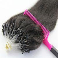 Wholesale Loop Micro Ring Brazilian Pruvian Malaysian Hair Extensions g strand A Micro Ring Loop Silky Straight