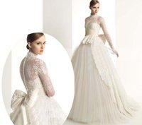 vestido de novia - Charming A Line Wedding Dresses High Neck Vestido De Novia Zuhair Murad Bow Sash Elegant Long Sleeve Lace Wedding Dress Custom Made