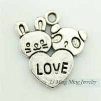antique panda - 50pcs x18mm Antique Silver Rabbit and Panda Love Charm Pendant Fit Bracelet Necklace DIY Metal Jewelry Making