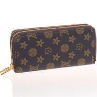 designer wallet - Women Double Zipper Leather Long Wallet Ladies Men Brand Designer Luxury Purse Walet Clutch Wristlet Portefeuille Femme gw0149