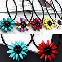 Wholesale 12 Colors Sunflower Fashion Bib Necklace Collar Statement Necklaces Casual Women Bohemia Jewelry