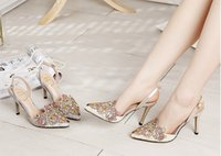 fine glitter - 2015 summer star with rhinestone high heeled sandals Baotou fine with the big pointed shoes with diamond openwork lace