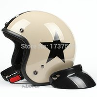 Wholesale C Taiwan quot SYC quot Motorcycle Helmet Open Face Casco Scooter Khaki Black Star Helmet amp UV Goggles