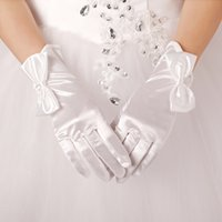 Wholesale 2016 Bow Wrist Length Bridal Gloves with Finger High Quality Wedding Glove Bridal Accessories White Real Image In Stock